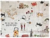 Ткань лен «Котики»